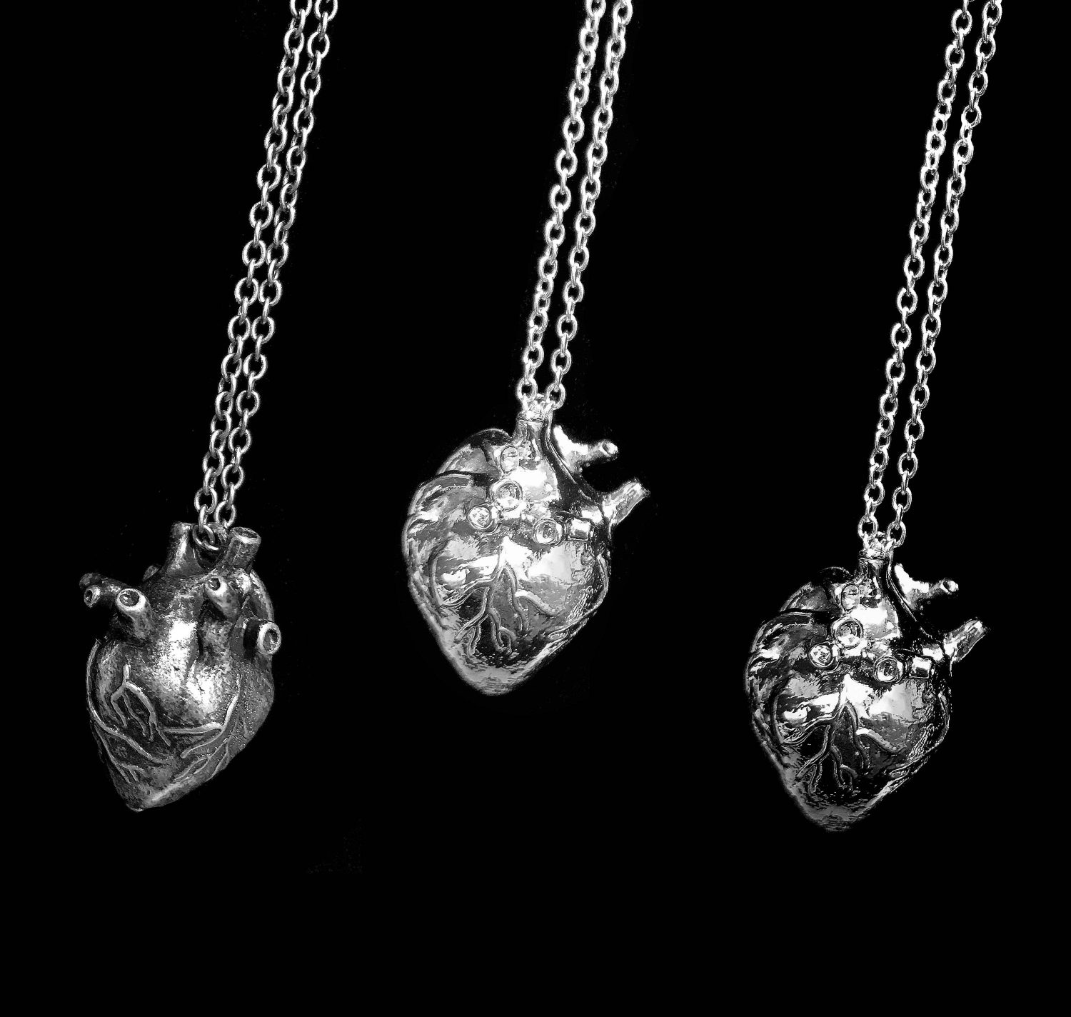Three Dimensional Anatomical Heart Necklace Select Your Finish Circuit Board Glass Pendant Photo Keychain