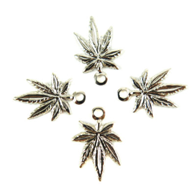 Tiny Rhodium Plated Marijuana Charms