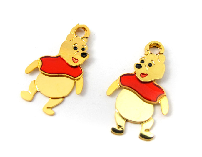 a20dbd800 Tiny Winnie The Pooh Plated Disney Character Charms – Left and Right (8  sets) (E560)