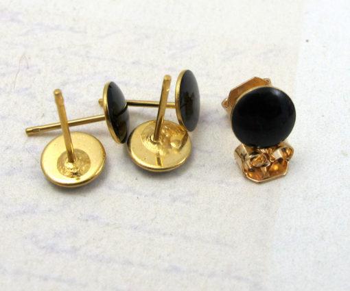 Vintage Black Enamel Resin Circle Stud Earrings