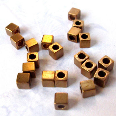 Vintage Brass Tiny Cube Beads