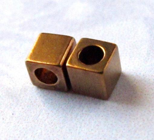 Vintage Brass Tiny Cube Beads