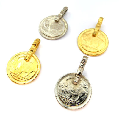 Vintage Gold and Silver Plated Buffalo Nickel Pendant
