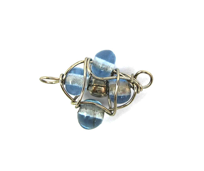 Vintage Light Blue Glass Beaded Wire Wrapped Connector Charms ...
