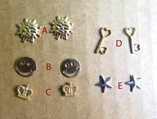 Vintage Plated Stud Earrings - Smiling Sun - Smiley Face - Crown - Heart Skeleton key - Nautical Star - You Choose