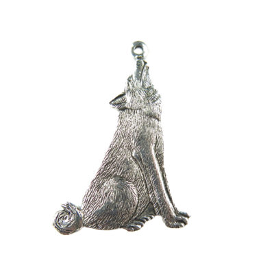 antiqued silver howling wolf charms