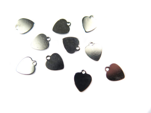 rhodium plated engraving heart charms
