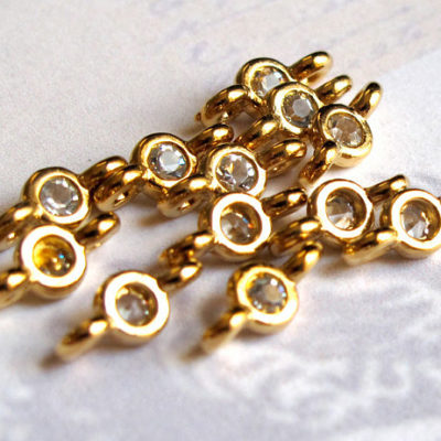 gold plated connector rhinestone charms