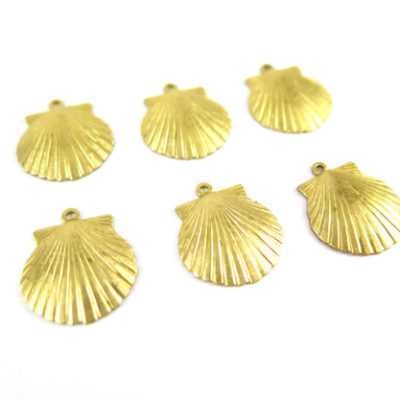 raw brass medium sea shell charms