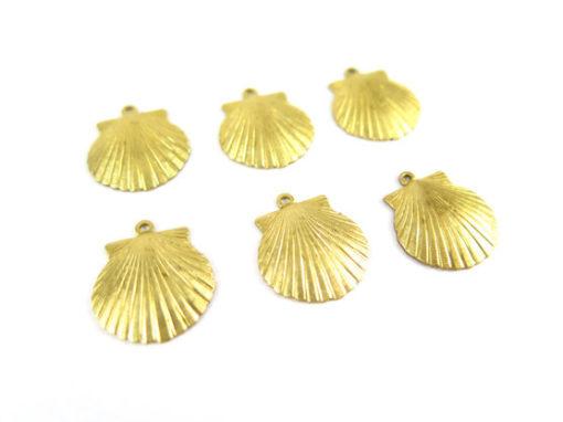 raw brass medium sea shell charms