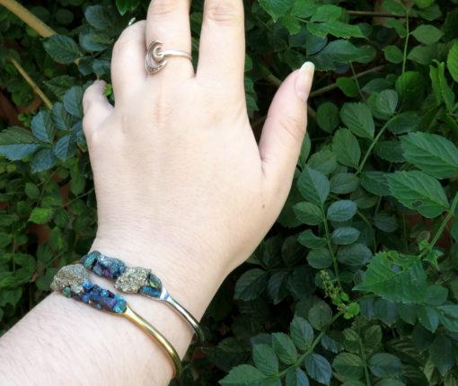 stone cluster pyrite cuff bracelet