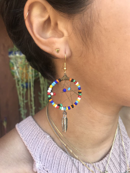 colorful seed beaded dangly earrings
