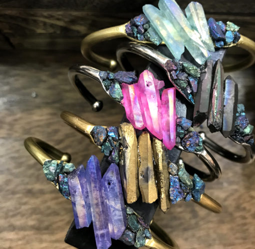 brass cuff bracelet embellished with bright aura quartz and peacock ore