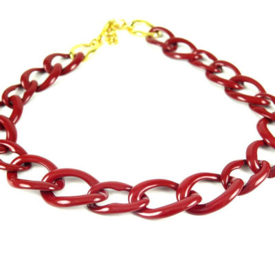 large link red enamel chain necklace