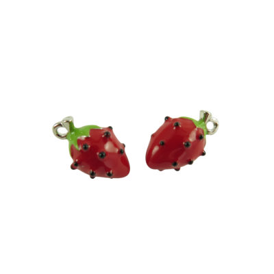 rhodium plated 3d strawberry charms