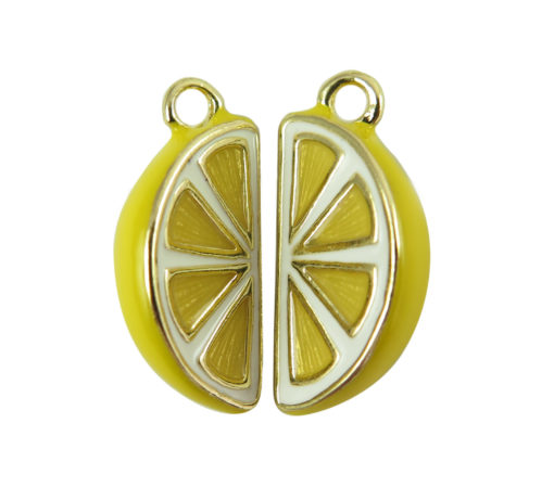 rhodium plated lemon slice charms
