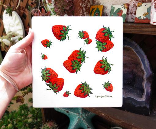 bright red strawberry vintage tile large