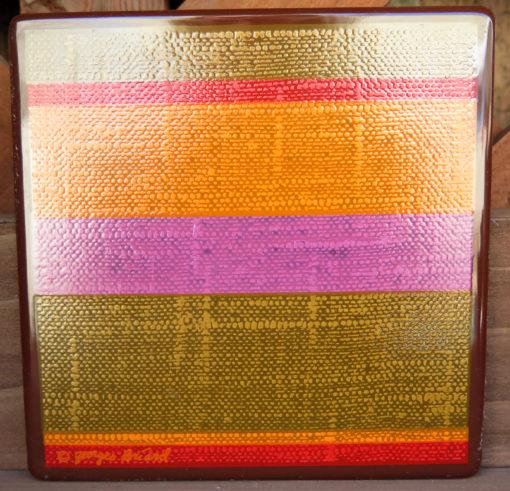 orange red green and brown striped retro vintage tile