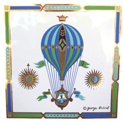vintage tile featuring a blue green and bronze hot air balloon with compass