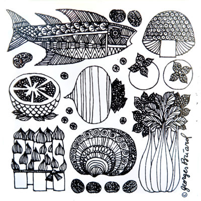 fish and food vintage tile
