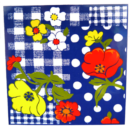 red white and yellow flowers with blue and white plaid background tile