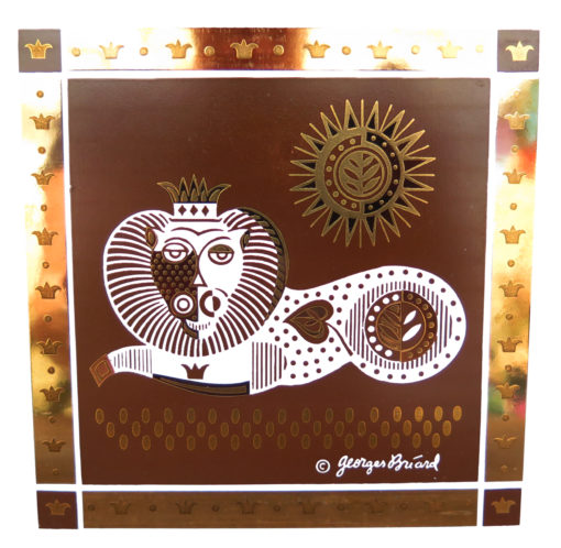 brown gold and white lion with sun tile