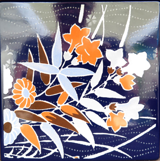 grey brown off white and orange Japanese floral square tile