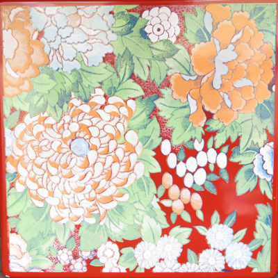 red and orange Japanese floral square tile