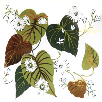 green leaves with white flowers square tile