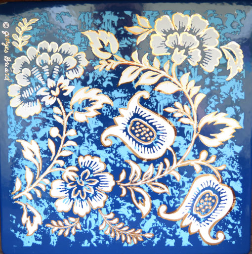 blue gold and white flower square tile
