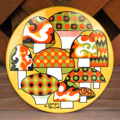 retro colored mushroom circle tile