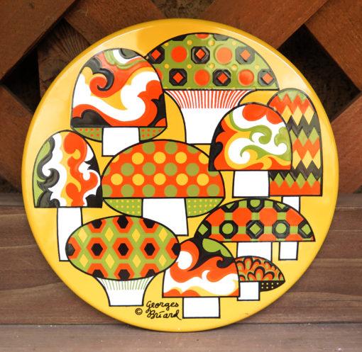 retro colored mushroom circle tile