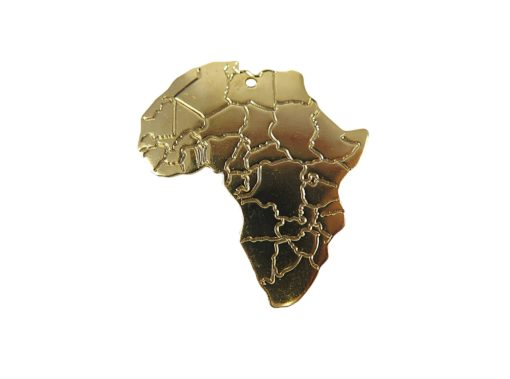 shiny gold plated africa pendant