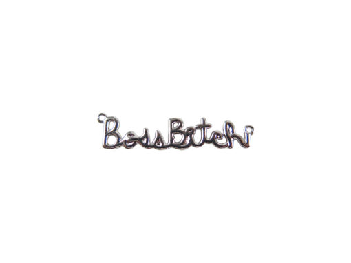rhodium plated boss bitch wire nameplate charm