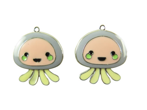 rhodium plated jelly fish charms