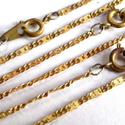 vintage brass press curb chain necklaces