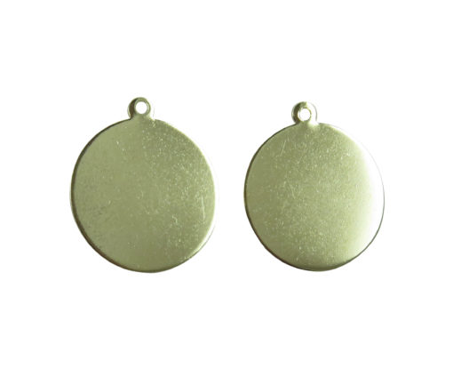 rhodium plated circle pad charms
