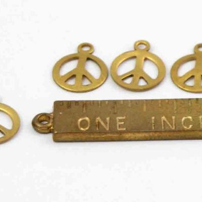 tiny brass peace sign charms