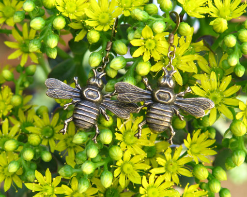brass bumble bee earrings