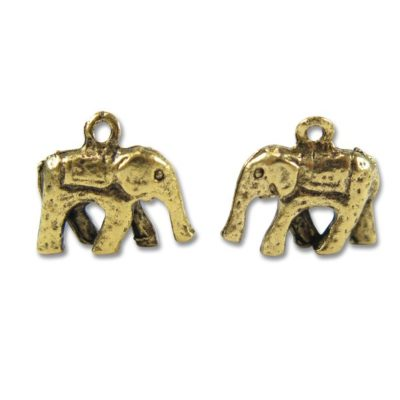 antiqued gold plated white metal elephant charms
