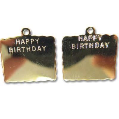 vintage gold plated happy birthday plaque charms