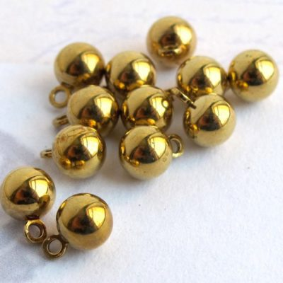 vintage shiny brass ball dorp charms
