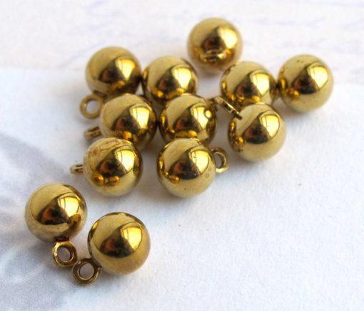 vintage shiny brass ball dorp charms