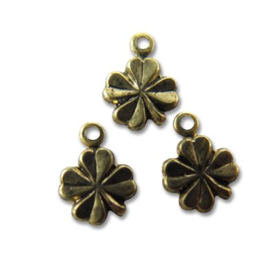 tiny vintage antiqued brass four leaf clover charms