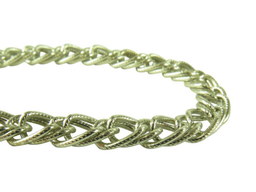 vintage plated steel textured curb chain bracelet findings