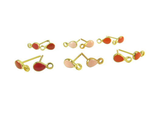 gold plated tear drop enamel earring - red and pink