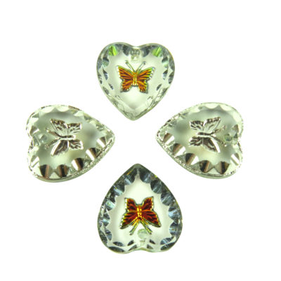 engraved glass butterfly heart charms