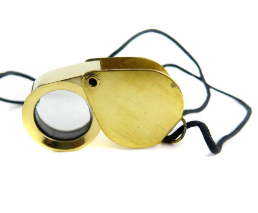 raw brass working map/jewelers magnifier with cord