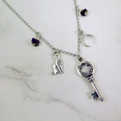 skeleton key necklace with cat moon and stones