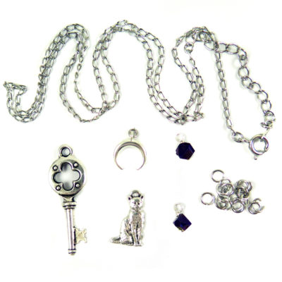 silver tone DIY charm kit with key moon cat crystal jump rings and chain